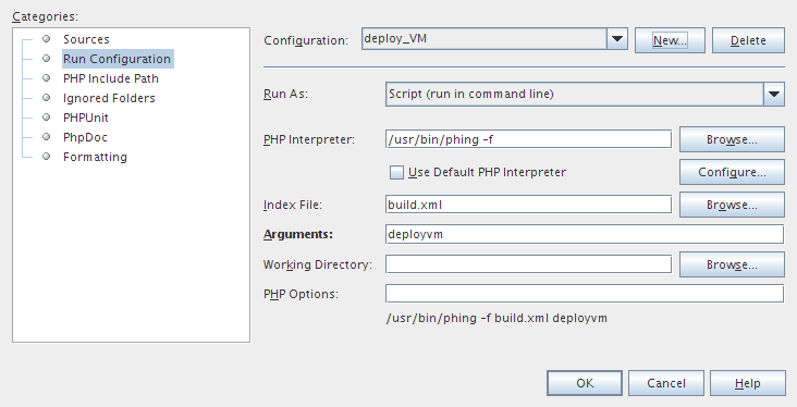 NetBeans run configuration dialog