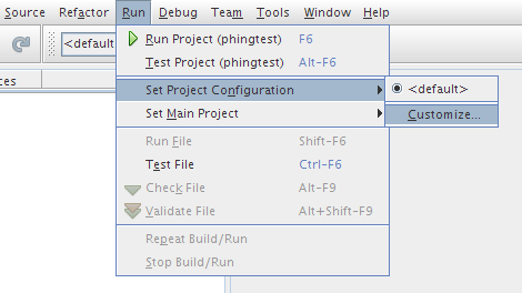 NetBeans run configuration